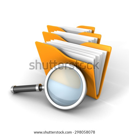 Paper Document Folders With Magnifier Glass. 3d Render Illustration - stock photo