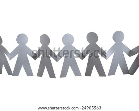 Paper Doll Cut Outs hanging in air on white - stock photo
