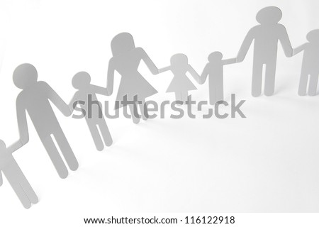 Paper doll family holding hands