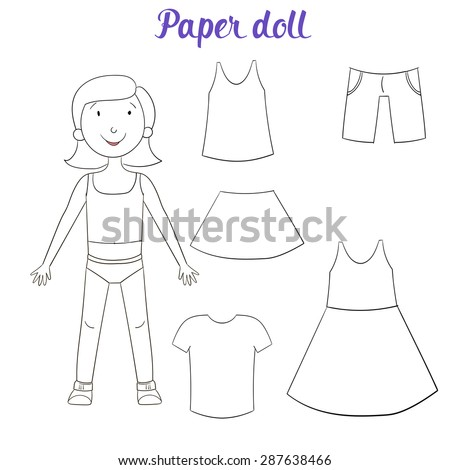 paper doll girl and clothes coloring book raster version - Coloring Book Paper Stock