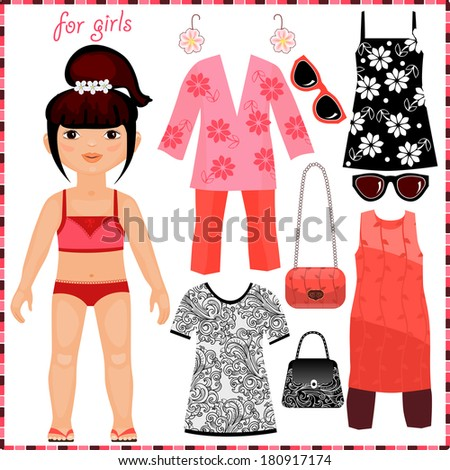 Paper doll with a set of fashion clothes. Cute girl. Template for cutting. Raster copy  - stock photo
