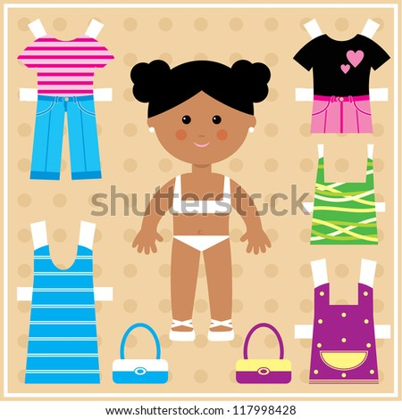 Paper doll with clothes set. Raster illustration. - stock photo