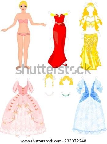 Paper Doll with different princess dresses - stock photo