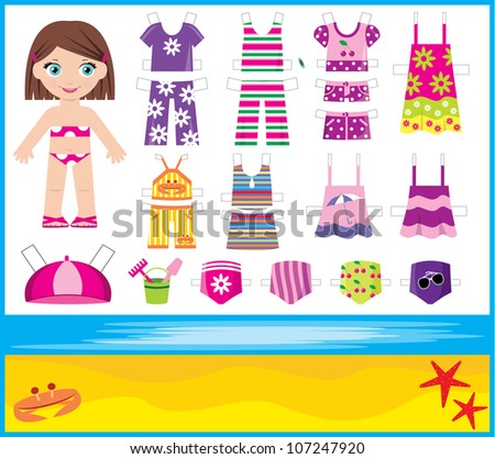 Paper doll with summer set of clothes. Raster illustration. - stock photo