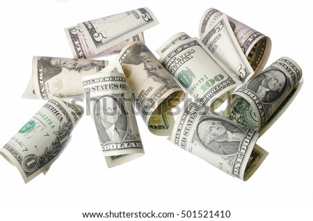 Paper dollars isolated on white background