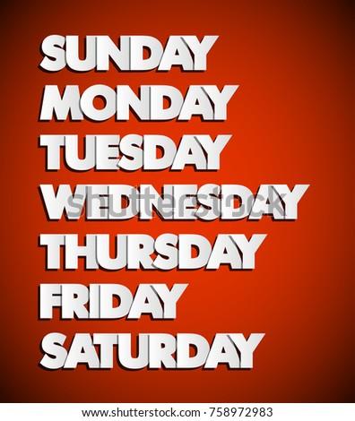 Seven Days Lettering. Calendar. Handwritten Days Of The Week Process