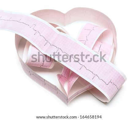 Paper ECG graph in shape of heart with heartbeat pulse isolated on white background - stock photo