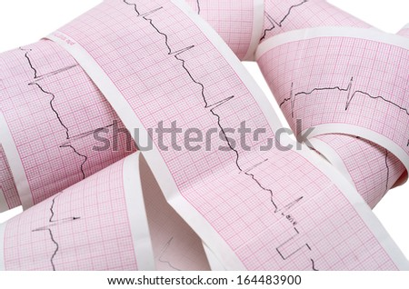 Paper ECG graph with heartbeat pulse isolated on white background - stock photo