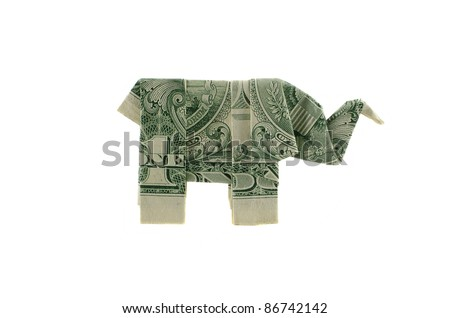 Paper elephant origami of one dollar isolated - stock photo