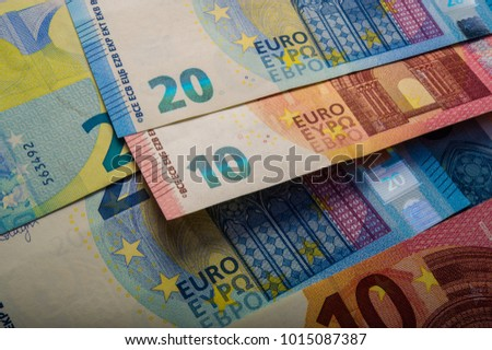 paper euro notes. Twenty euros. Currency of the European Union.
