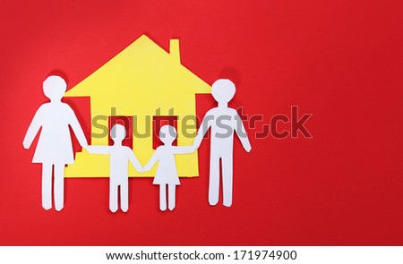 Paper Family and House over red background. Concept.