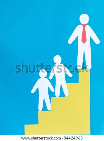 Paper figures of clerks and career stairs - stock photo