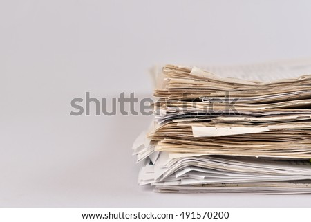 Paper Files on isolated background.