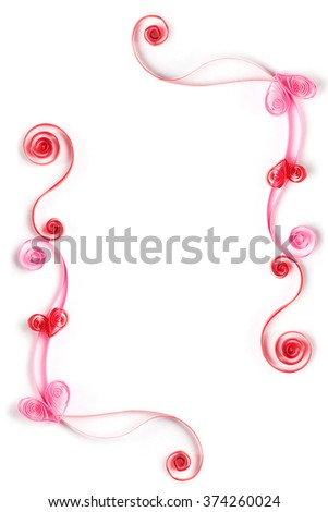 Paper flowers quilling frame - stock photo