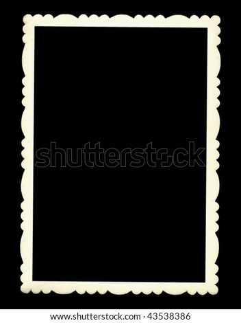 Paper frame with beautiful vintage edges isolated on black