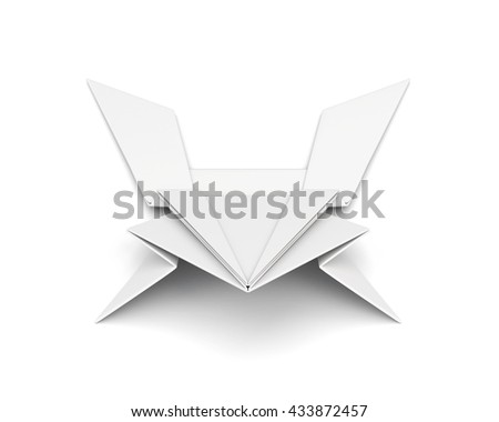 Paper frog front view isolated on white background. 3d render image.