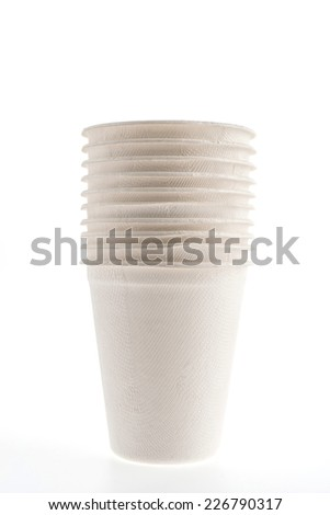 Paper glass isolated on white background