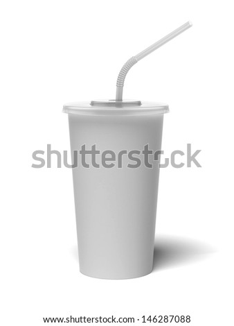 paper glass with a straw