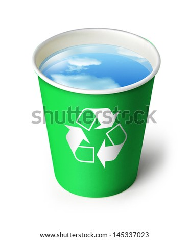 Paper green cup with recycling sign