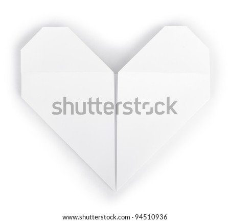 Paper heart origami isolated on white - stock photo
