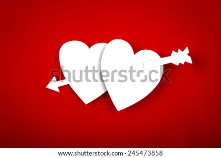 Paper heart shape symbol for Valentines day with copy space for text or design