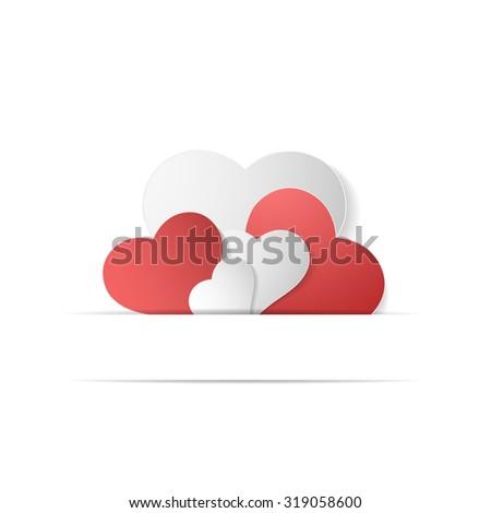 Paper hearts. Happy Valentine's Day. - stock photo