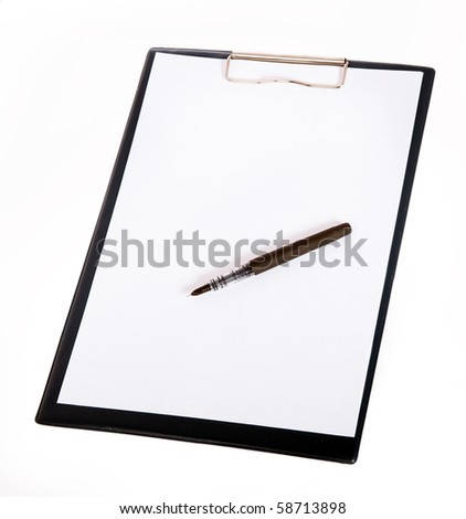 Paper holder pad and pen - stock photo