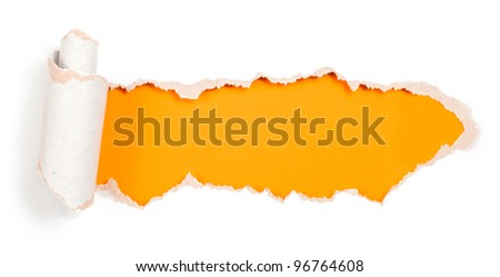 Paper hole with torn edges design template - stock photo