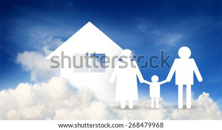 paper home, family on cloud with blue sky, insurance concept - stock photo