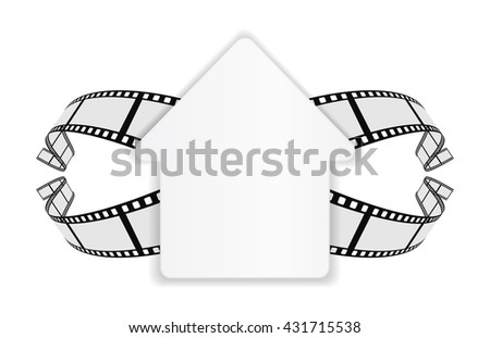 paper house banner with film strip 3d - stock photo