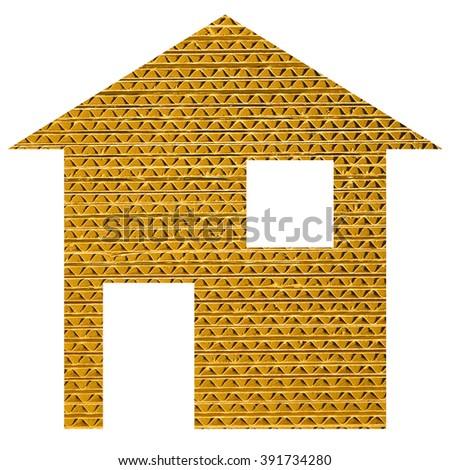 Paper house 2d model illustration isolated over white - stock photo
