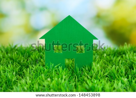 paper house on green background, close up
