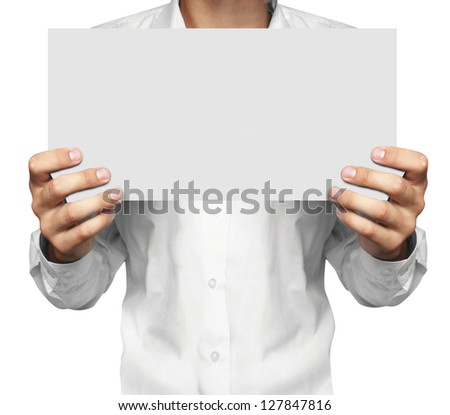 paper in man hand