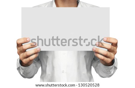 paper in man hand - stock photo