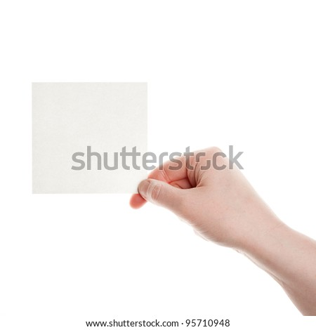 Paper in woman hand isolated on white background