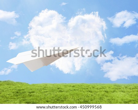 paper jet heart cloud