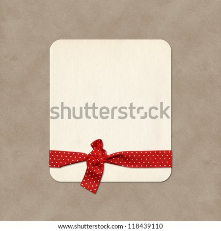 Paper label, gift card with ribbon - stock photo