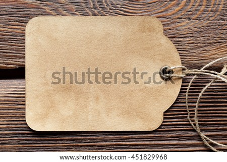 Paper label on wooden table