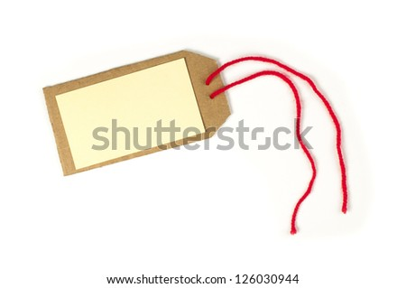 Paper label with rope. White isolated