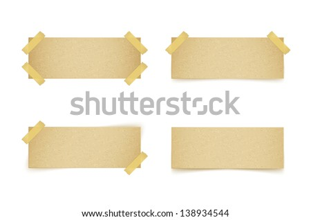paper labels attached with sticky tape on white background. Raster copy of vector illustration