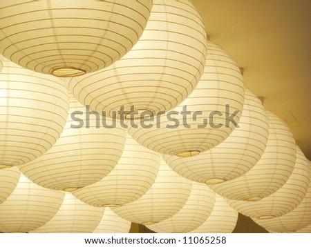 Paper lamp, closeup - stock photo