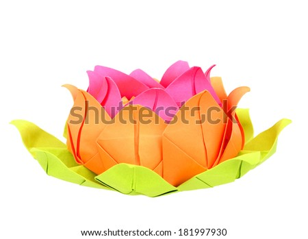 Paper lotus isolated white - stock photo