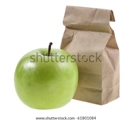 paper lunch bag with fresh apples isolated over white background  - stock photo