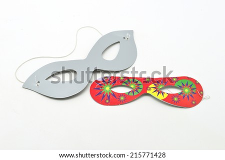 paper masks cotillion isolated in white background - stock photo