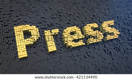 Paper media. Word Press of the yellow square pixels on a black matrix background. 3D illustration picture - stock photo