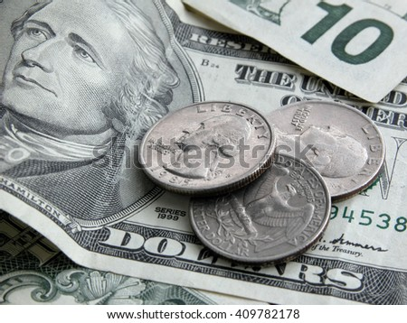 Paper money and coins - banknote, dollars, 10 dollars, cents. Coin store United States. Close-up, details, texture. - stock photo