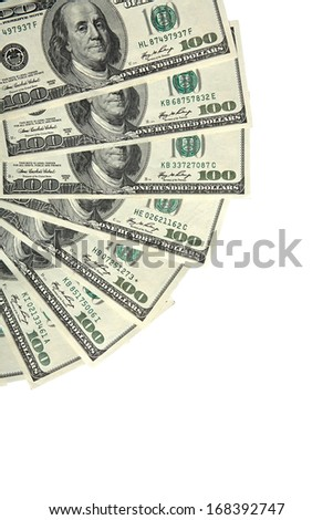 Paper money fan / studio photography of american national currency of hundred dollar isolated on white background