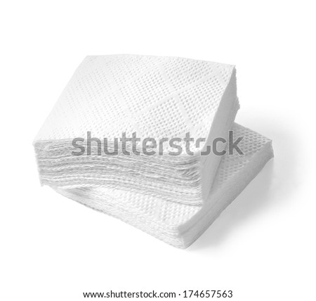 Paper napkins isolated on a white background. with clipping path