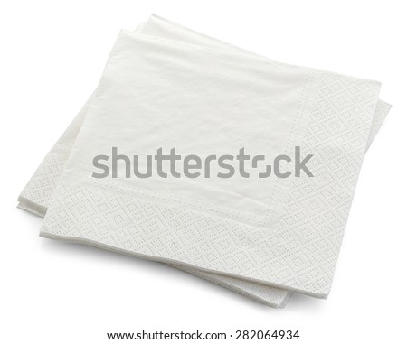 paper napkins isolated on white background - stock photo