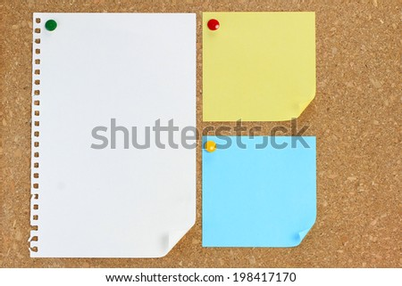 paper note background cork board - stock photo